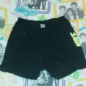 80s Nike Black Neon Green Board Trunks Shorts